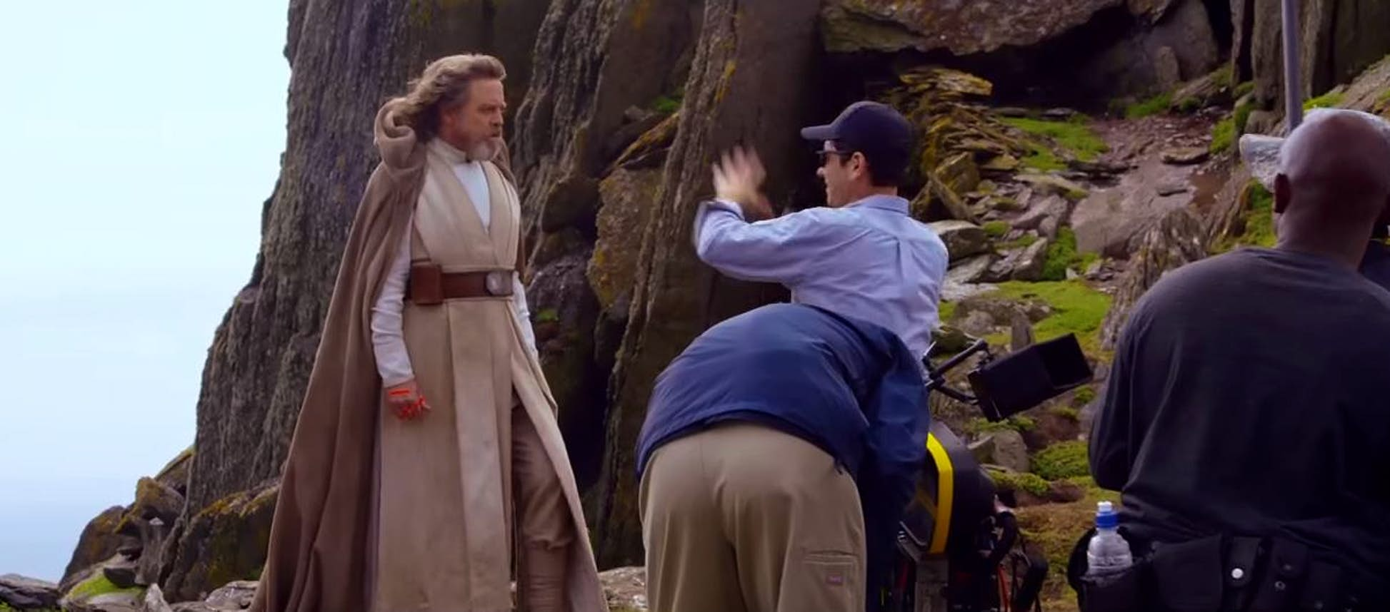 Luke Skywalker, played by Mark Hamill, pictured on Skellig island during filming © Tourism Ireland