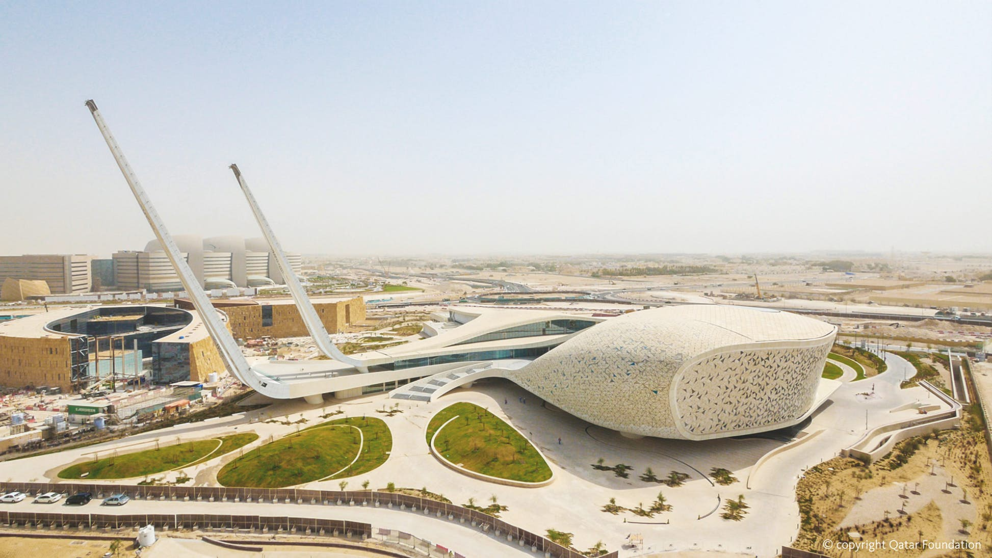 Observers of the curvaceous Qatar Faculty of Islamic Studies could be forgiven for expecting the structure to take off © Qatar Foundation