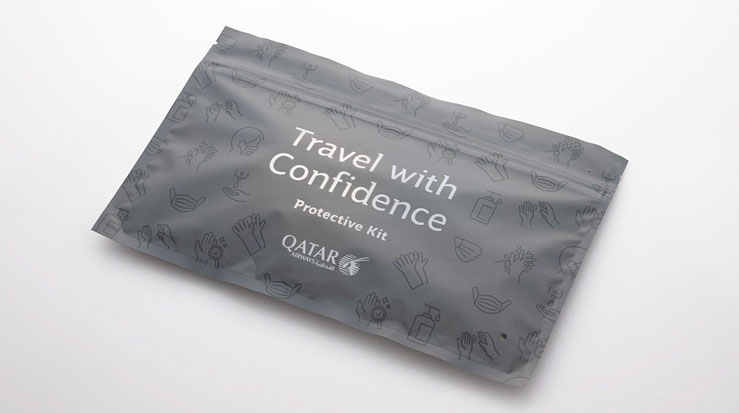 Passengers are issued with a protective kit © Qatar Airways