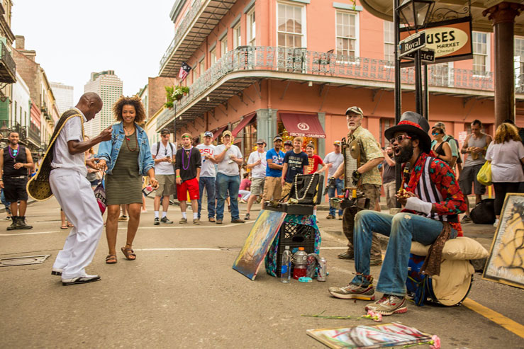 A two-man band playing on a corner in the French Quarter. ©Kris Davidson/Lonely Planet