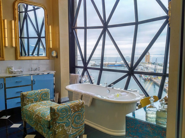 Even the bathrooms at the Silo Hotel afford epic views of Cape Town © Becca Blond / Lonely Planet