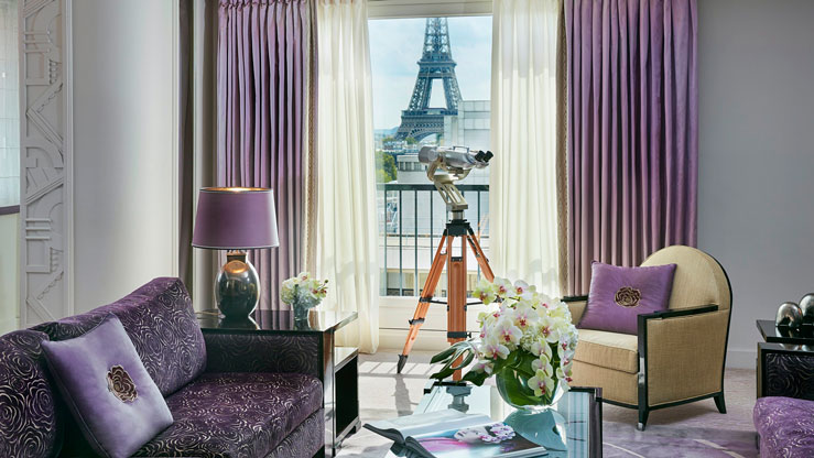 """Talk about """"A Room with a View,"""" this hotel affords numerous views of Paris' most iconic sites, including the Eiffel Tower © Francis Amland courtesy of the Dorchester Collection"""