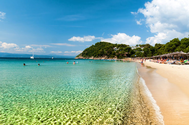Koukounaries Beach is a popular tourist destination for people visiting the Greek island of Skiathos © David Abrams / Getty Images