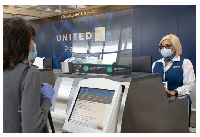 United Airlines passengers flying during the coronavirus pandemic must fill out a health assessment during online check-in, on its mobile app or at the airport. United Airlines