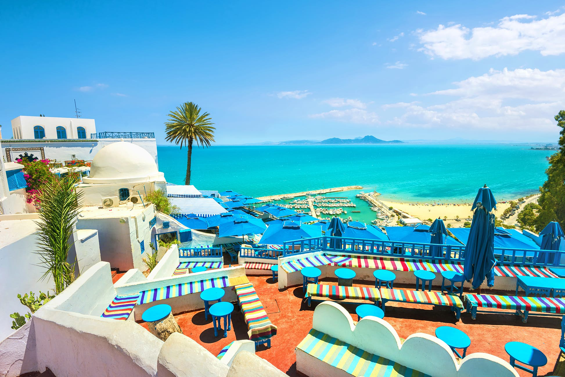 The white and blue coloured buildings of the seaside town, Sidi Bou Said © Valery Bareta / Shutterstock