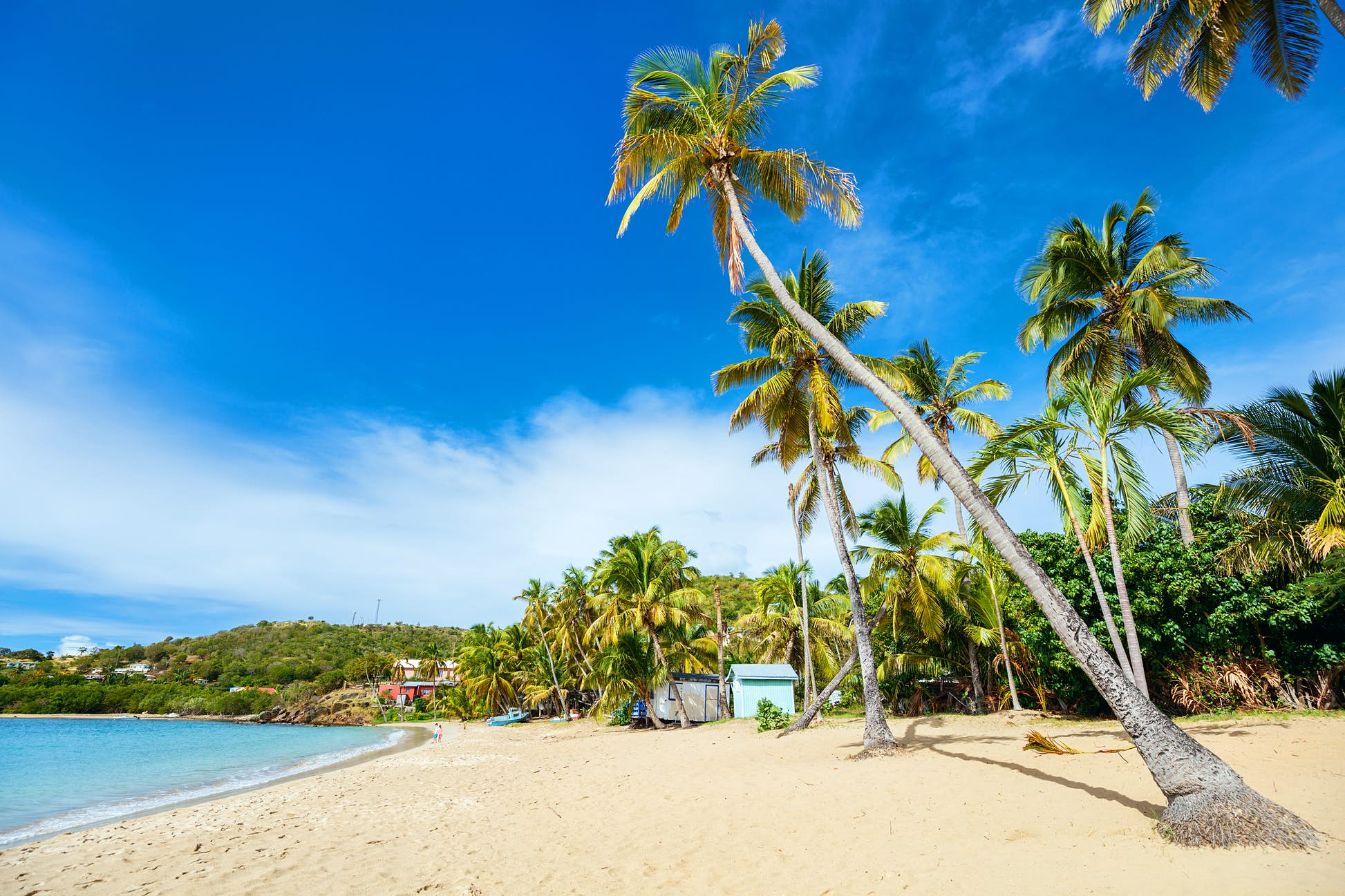 Idyllic tropical Carlisle Bay Beach with white sand, turquoise ocean water and blue sky on the island of Antigua is stunning © BlueOrange Studio / Shutterstock