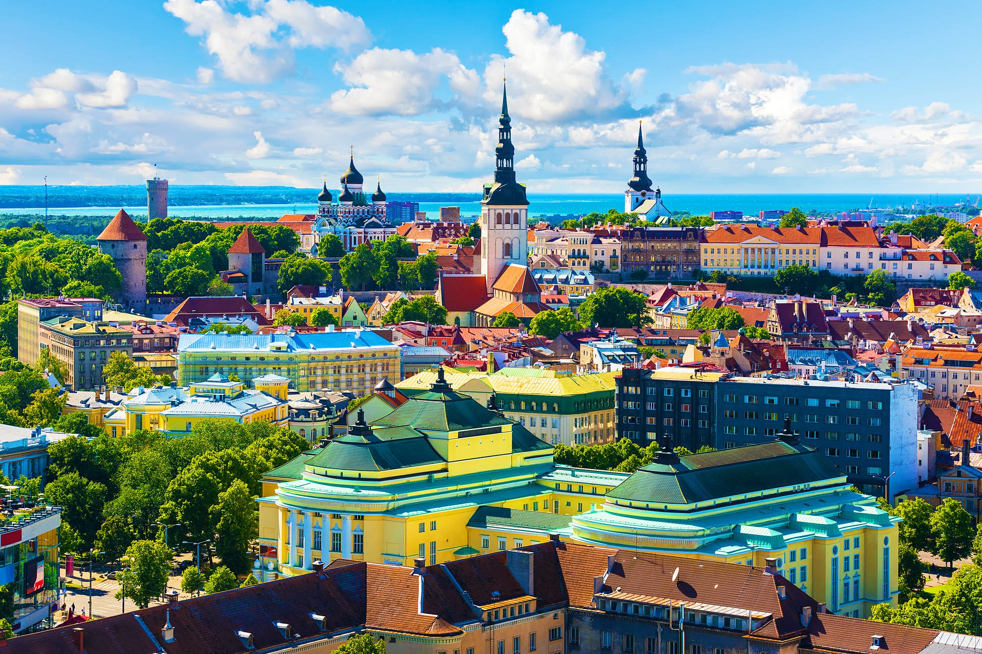 Scenic summer aerial view of the Old Town architecture in Tallinn, Estonia ©Scanrail1/Shutterstock